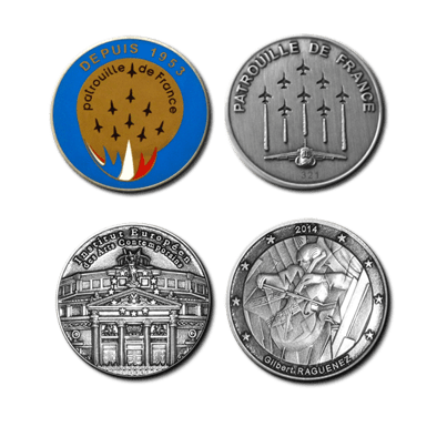 "FIA - Coins of 42mm/1.7"" diameter : Face & Back"